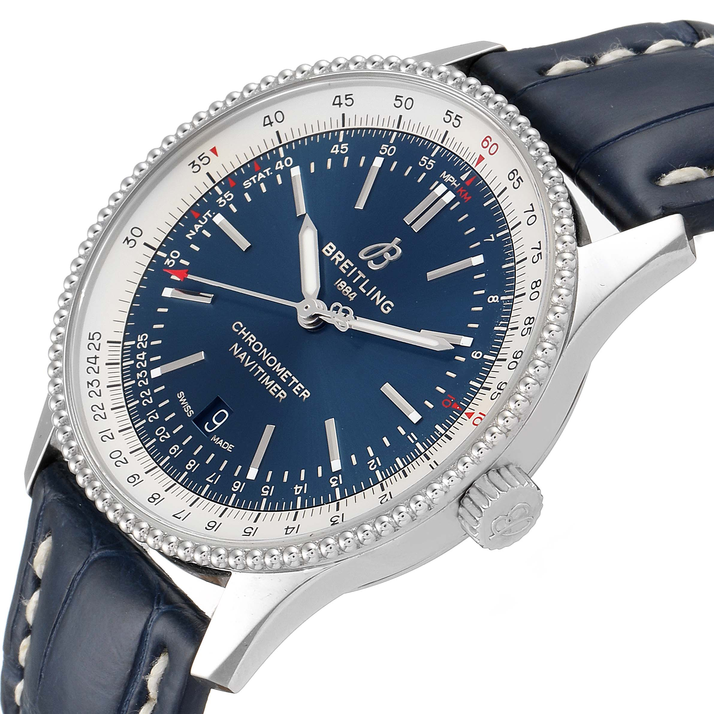 Breitling Navitimer 1 Blue Dial 41mm Steel Mens Watch A17326 Box Papers SwissWatchExpo