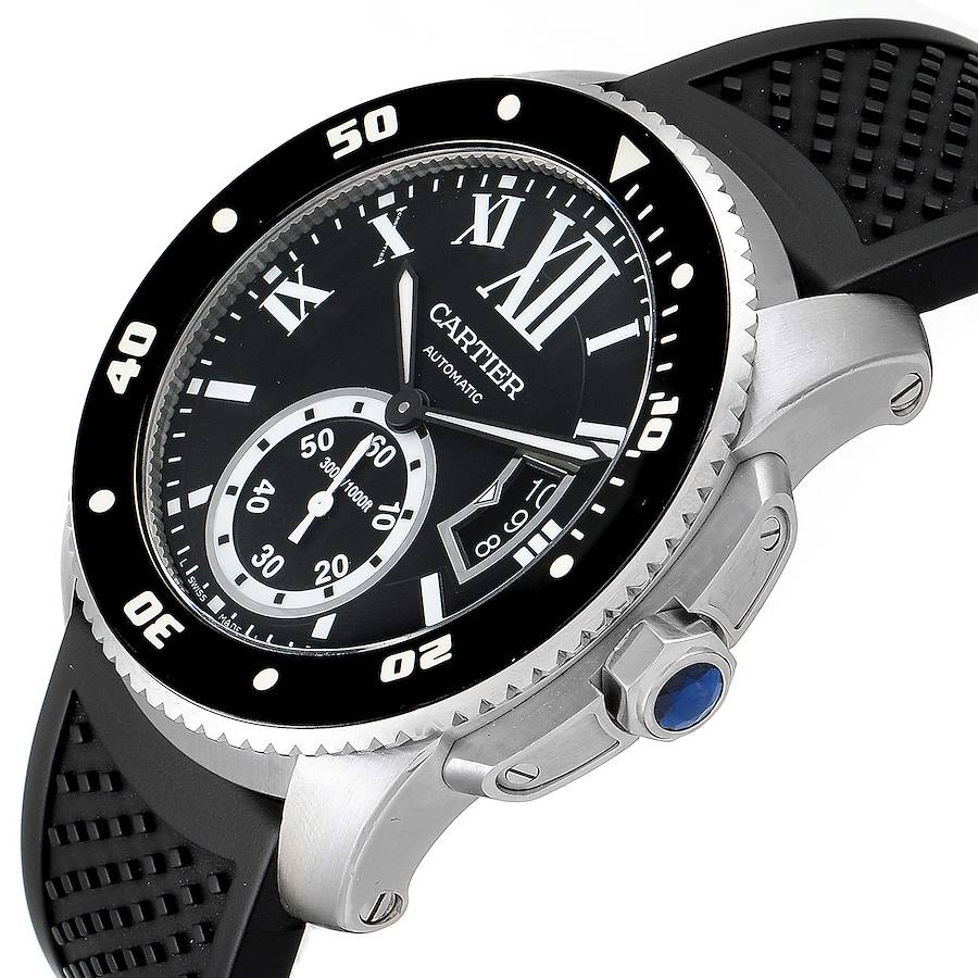 Cartier Calibre Diver Black Rubber Strap Steel Mens Watch W7100056 Box Papers SwissWatchExpo