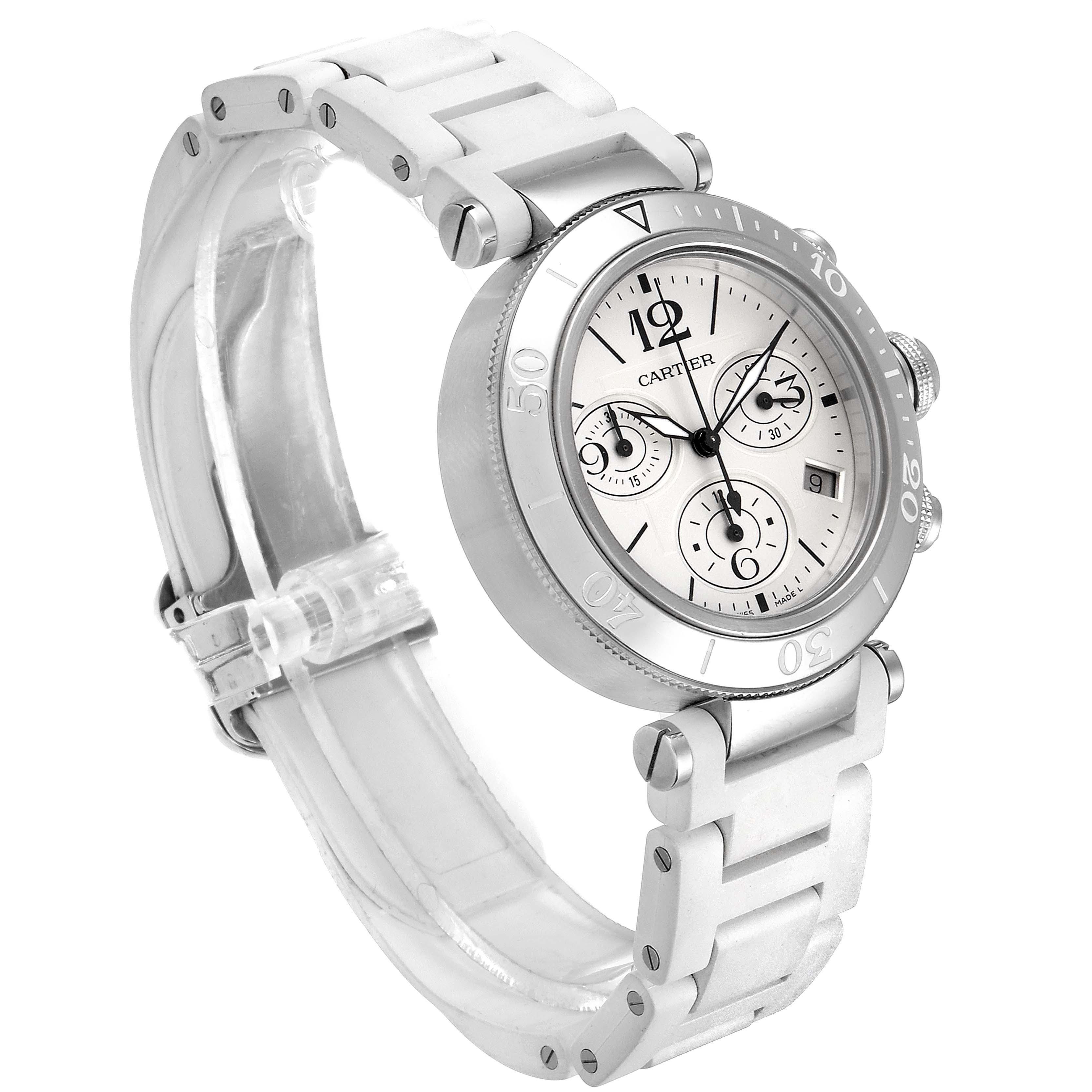 Cartier Pasha Seatimer Chronograph Rubber Strap Ladies Watch W3140005 SwissWatchExpo