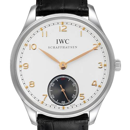 Photo of IWC Portuguese Silver Dial Manual Wind Steel Mens Watch IW545405 Card
