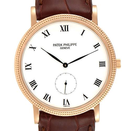 Photo of Patek Philippe Calatrava 18k Rose Gold Black Strap Mens Watch 3919
