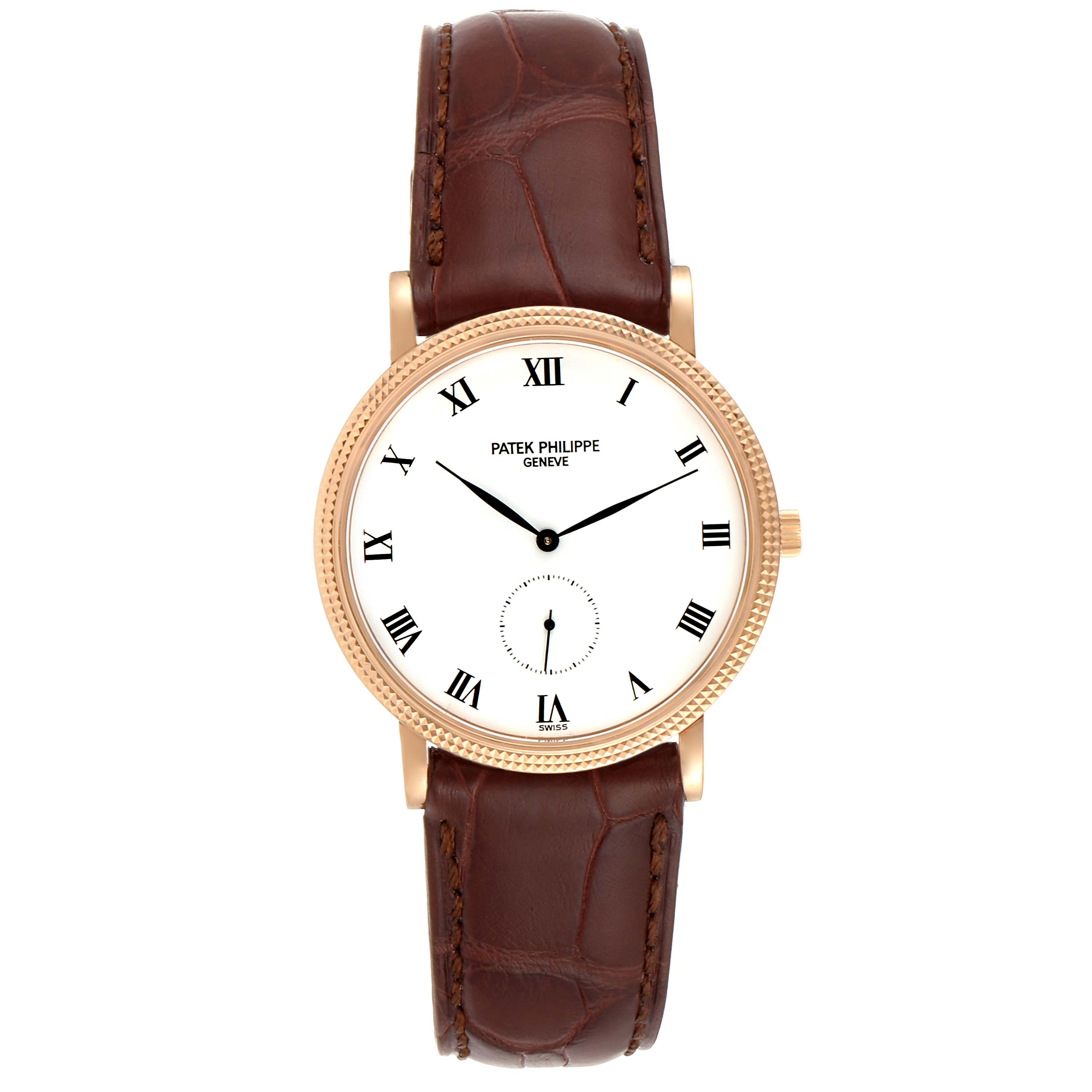 Patek Philippe Calatrava 18k Rose Gold Black Strap Mens Watch 3919 SwissWatchExpo