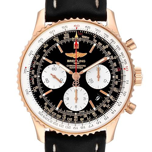 Photo of Breitling Navitimer 01 Rose Gold Black Dial Mens Watch RB0120 Box Papers