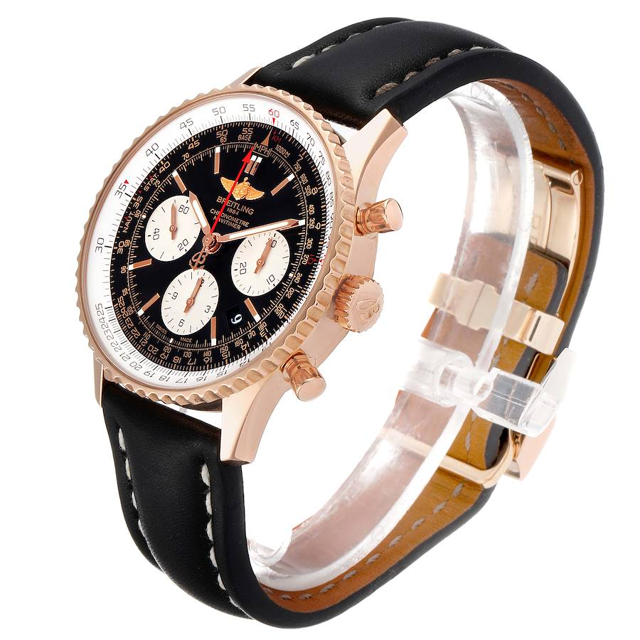 Breitling Navitimer 01 Rose Gold Black Dial Mens Watch RB0120 Box Papers SwissWatchExpo