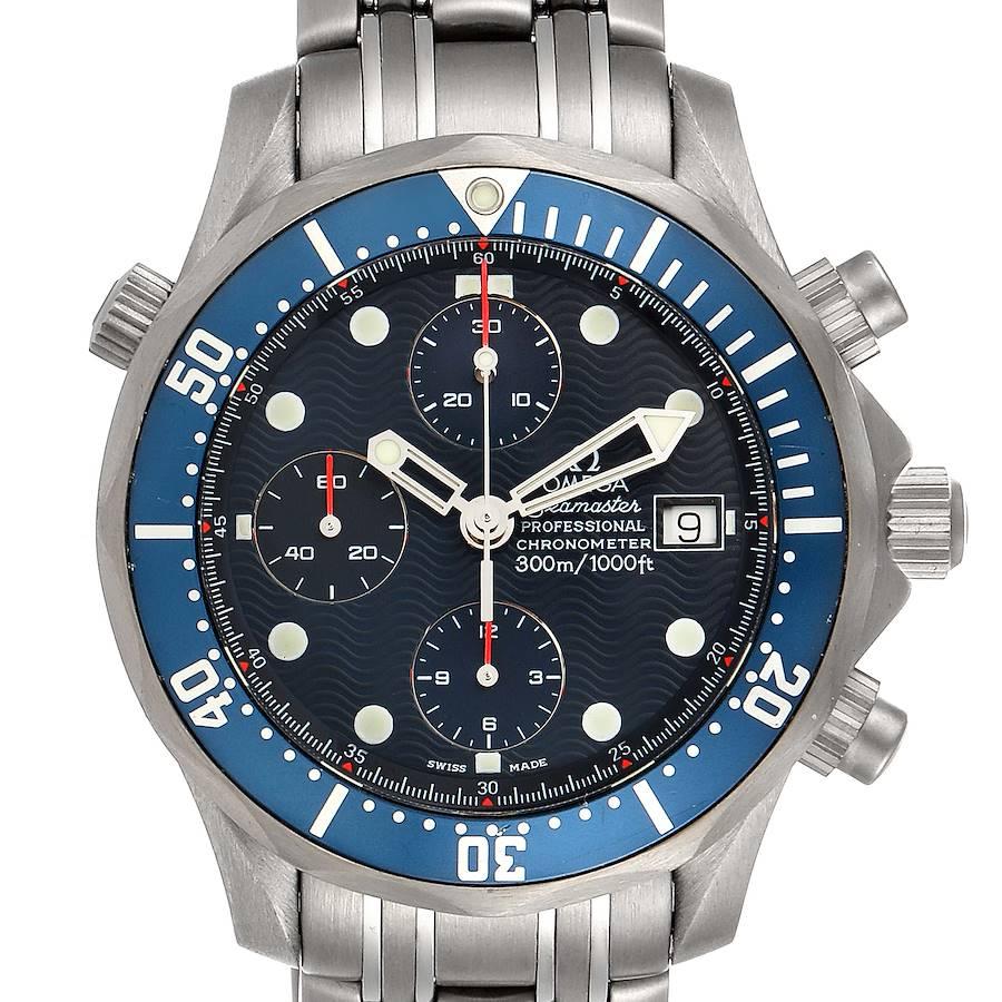 Omega Seamaster Chrono Diver Blue Dial Titanium Mens Watch 2298.80.00 SwissWatchExpo