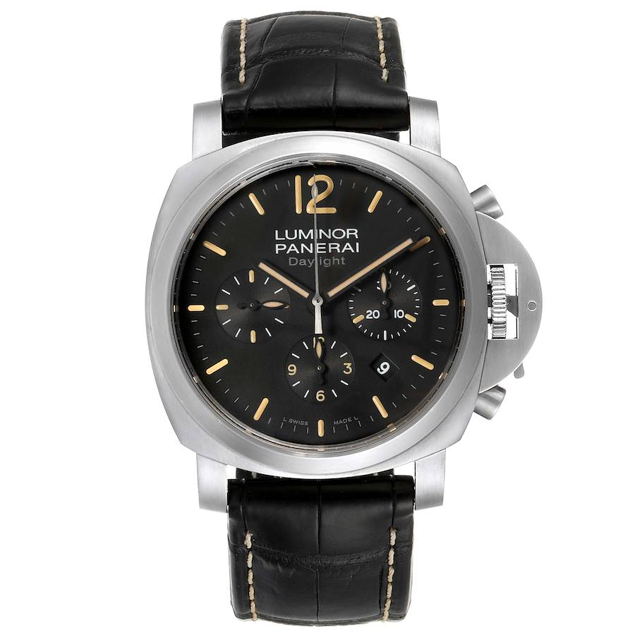 Panerai Luminor Daylight Chronograph Steel Mens Watch PAM00356 SwissWatchExpo