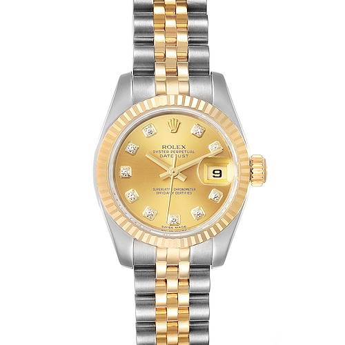 Photo of Rolex Datejust 26 Steel Yellow Gold Diamond Ladies Watch 179173 Box