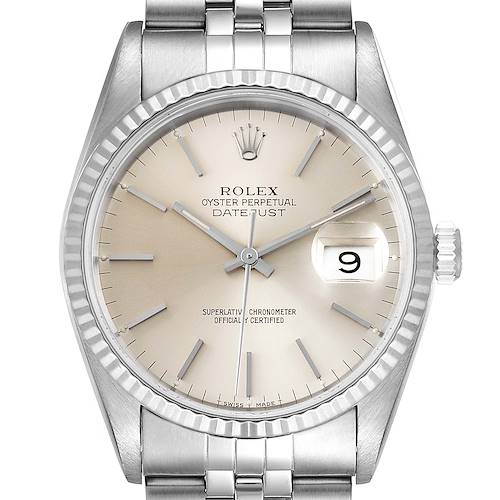 Photo of Rolex Datejust Silver Dial Fluted Bezel Steel White Gold Mens Watch 16234