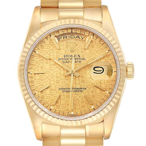 Photo of Rolex President Day-Date 36mm Yellow Gold Mens Watch 18238 Box Papers
