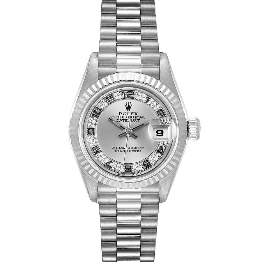 Rolex President White Gold Myriad Diamond Dial Ladies Watch 69179 Box Papers SwissWatchExpo