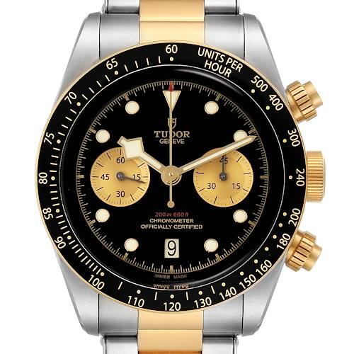 Photo of Tudor Heritage Black Bay Steel Yellow Gold Mens Watch 79363 Box Papers