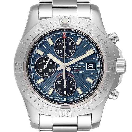 Photo of Breitling Colt Blue Dial Automatic Chronograph Steel Mens Watch A13388 Box Paper