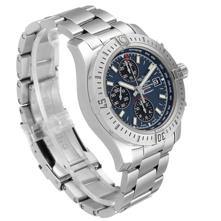 Breitling Colt Blue Dial Automatic Chronograph Steel Mens Watch A13388 Box Paper SwissWatchExpo