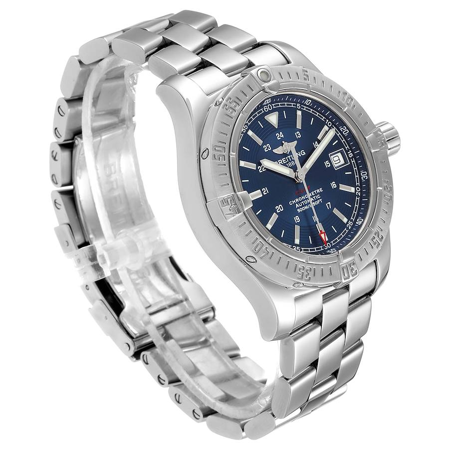 Breitling Colt Blue Dial Automatic Steel Mens Watch A17380 Box Papers SwissWatchExpo