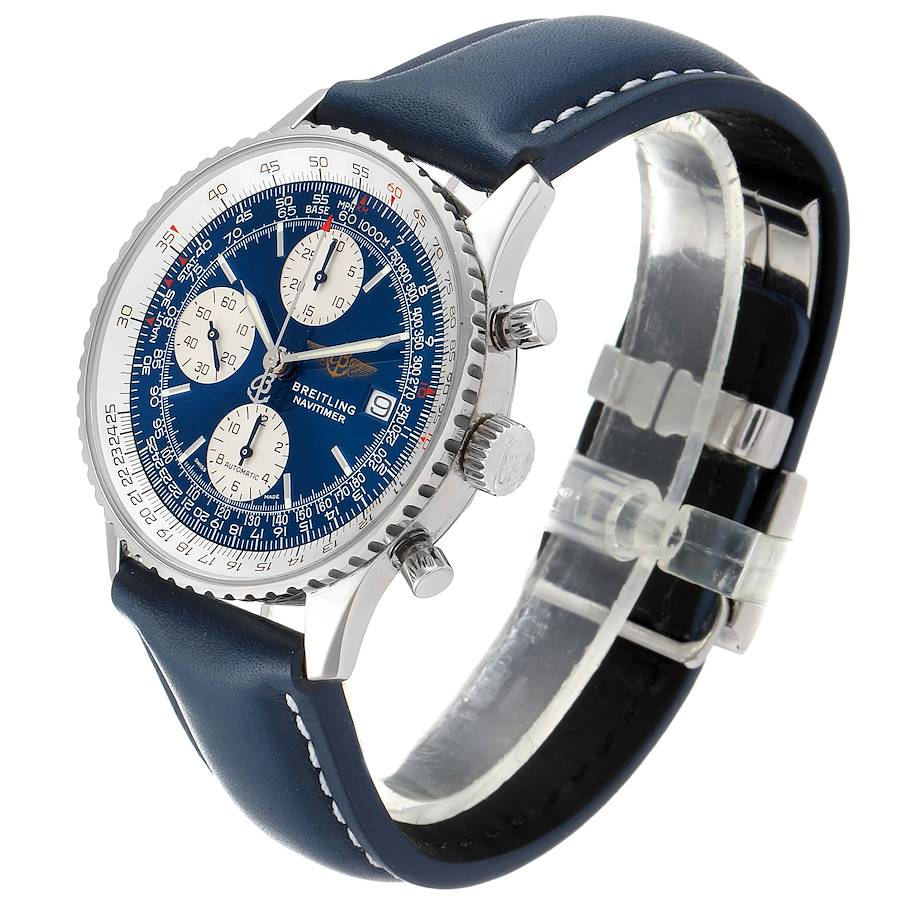 Breitling Navitimer II Blue Dial Chronograph Steel Mens Watch A13322 Box Papers SwissWatchExpo