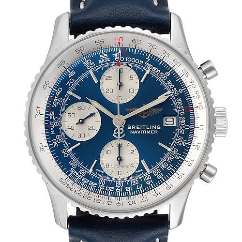 Photo of Breitling Navitimer II Blue Dial Chronograph Steel Mens Watch A13322 Box Papers