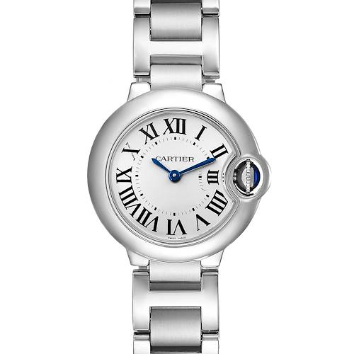 Photo of Cartier Ballon Blue 29 Silver Dial Quartz Ladies Watch W69010Z4 Box Papers