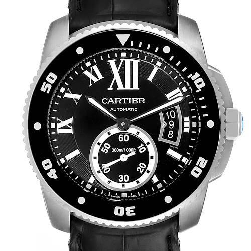 Photo of Cartier Calibre Diver Black Leather Strap Steel Mens Watch W7100056 Box