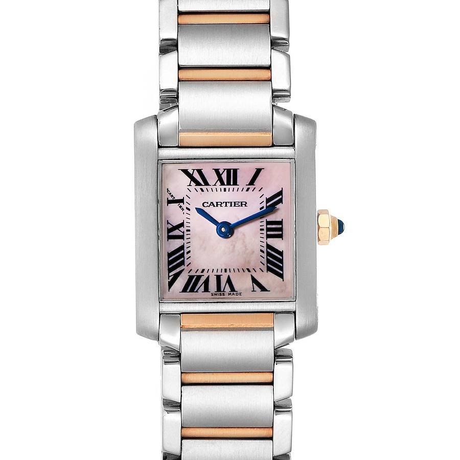 Cartier Tank Francaise Steel Rose Gold Mother of Pearl Watch W51027Q4 Box SwissWatchExpo