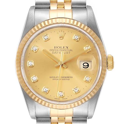 Photo of Rolex Datejust 36 Steel Yellow Gold Diamond Mens Watch 16233 Box