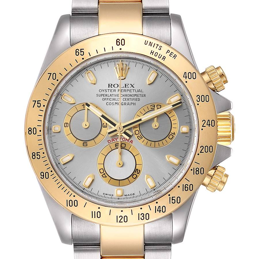 Rolex Daytona Steel Yellow Gold Slate Dial Mens Watch 116523 Box Papers SwissWatchExpo