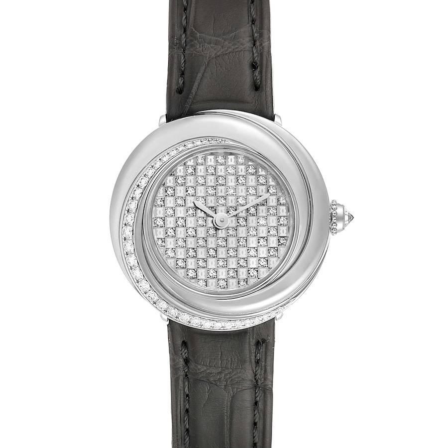 Cartier Trinity White Gold Pave Diamond Dial Ladies Watch 2444 SwissWatchExpo