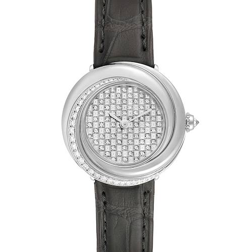 Photo of Cartier Trinity White Gold Pave Diamond Dial Ladies Watch 2444