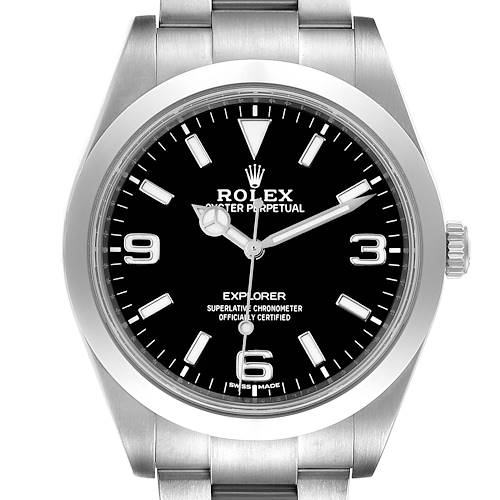Photo of Rolex Explorer I Luminescent Arabic Numerals Mens Watch 214270 Box Card