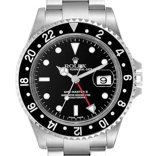 Photo of Rolex GMT Master II Black Bezel Red Hand Steel Mens Watch 16710 Box