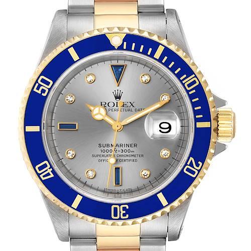 Photo of Rolex Submariner Steel Gold Diamond Sapphire Serti Dial Mens Watch 16613 Box
