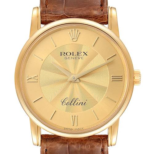 Photo of Rolex Cellini Classic Yellow Gold Decorated Champagne Dial Watch 5116 Box