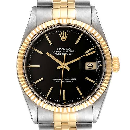 Photo of Rolex Datejust Black Dial Steel Yellow Gold Vintage Mens Watch 1601
