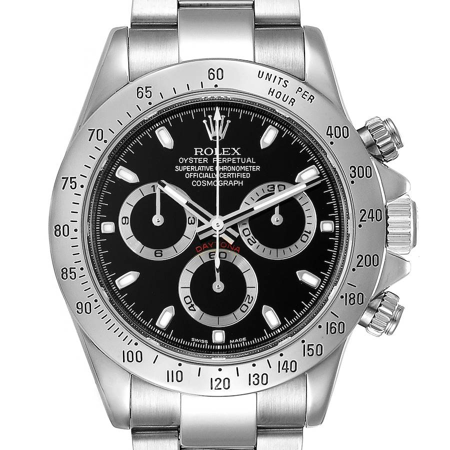 Rolex Daytona Black Dial Chronograph Steel Watch 116520 Box SwissWatchExpo