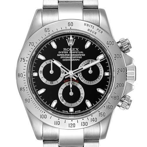 Photo of Rolex Daytona Black Dial Chronograph Steel Watch 116520 Box