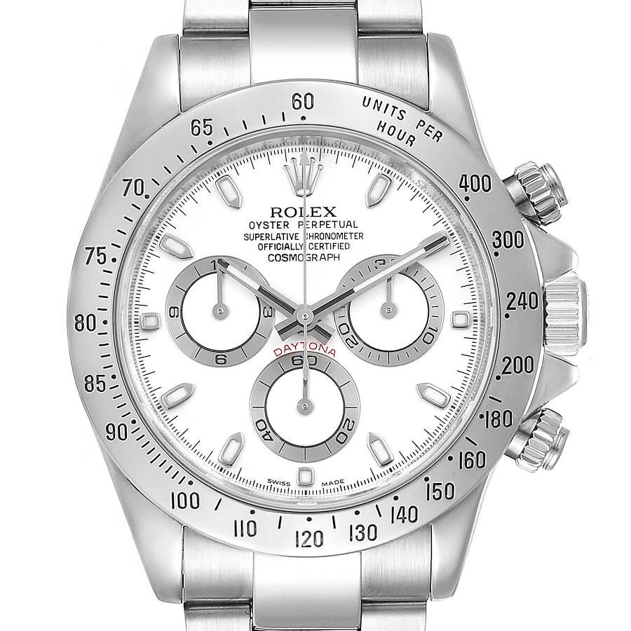 Rolex Daytona White Dial Chronograph Stainless Steel Mens Watch 116520 Box Card SwissWatchExpo