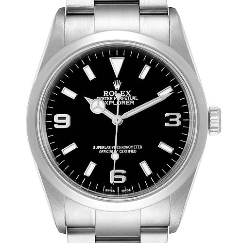 Photo of Rolex Explorer I Black Dial Stainless Steel Mens Watch 114270 Box
