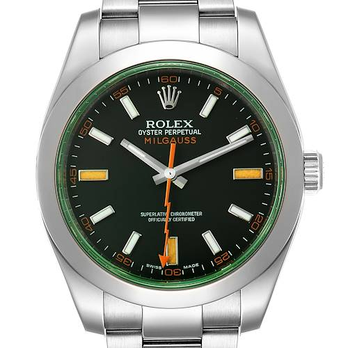 Photo of Rolex Milgauss Black Dial Green Crystal Steel Mens Watch 116400 Box Card