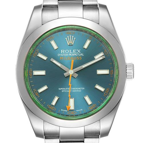 Photo of Rolex Milgauss Blue Dial Green Crystal Steel Mens Watch 116400 Box