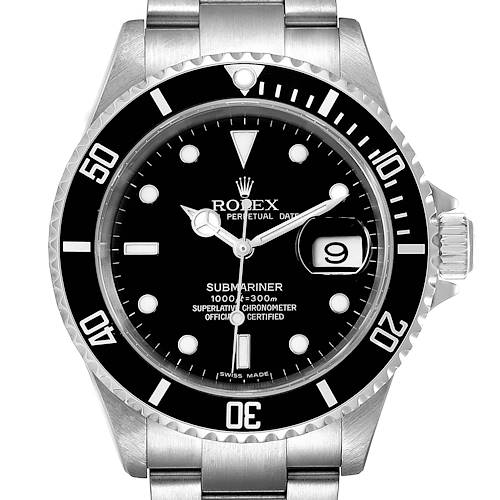 Photo of Rolex Submariner Black Dial Stainless Steel Mens Watch 16610 Box
