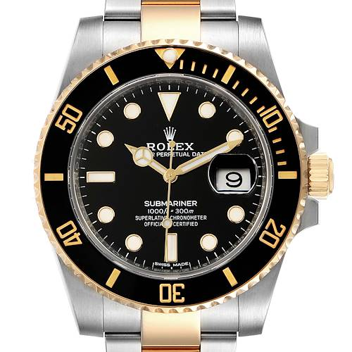 Photo of Rolex Submariner Steel Yellow Gold Black Dial Automatic Mens Watch 116613 Box Card