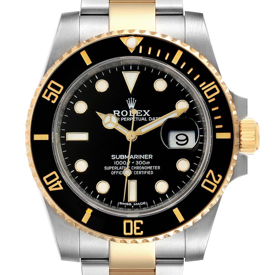 Rolex Submariner Steel Yellow Gold Black Dial Automatic Mens Watch 116613 Box Card SwissWatchExpo