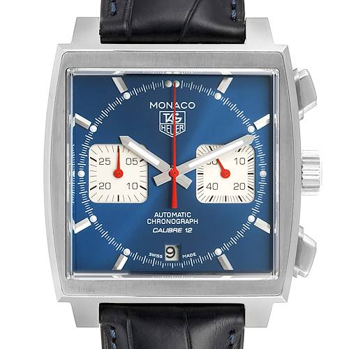 Photo of Tag Heuer Monaco Calibre 12 Blue Dial Black Strap Mens Watch CAW2111 Box