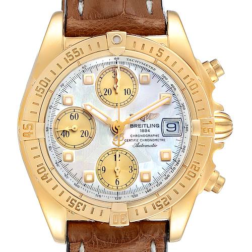 Photo of Breitling Windrider Cockpit Yellow Gold MOP Dial Mens Watch K13358 Box Papers