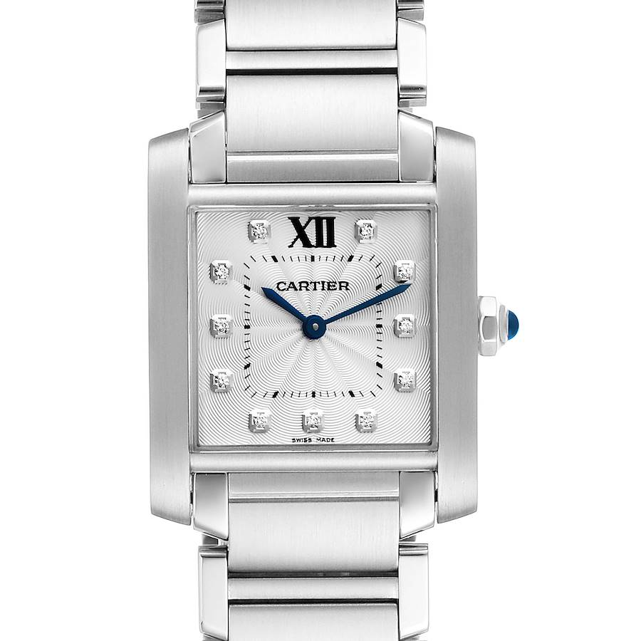Cartier Tank Francaise Midsize Diamond Steel Ladies Watch WE110007 SwissWatchExpo