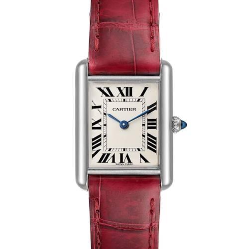 Photo of Cartier Tank Louis 18k White Gold Brown Strap Ladies Watch W1541056