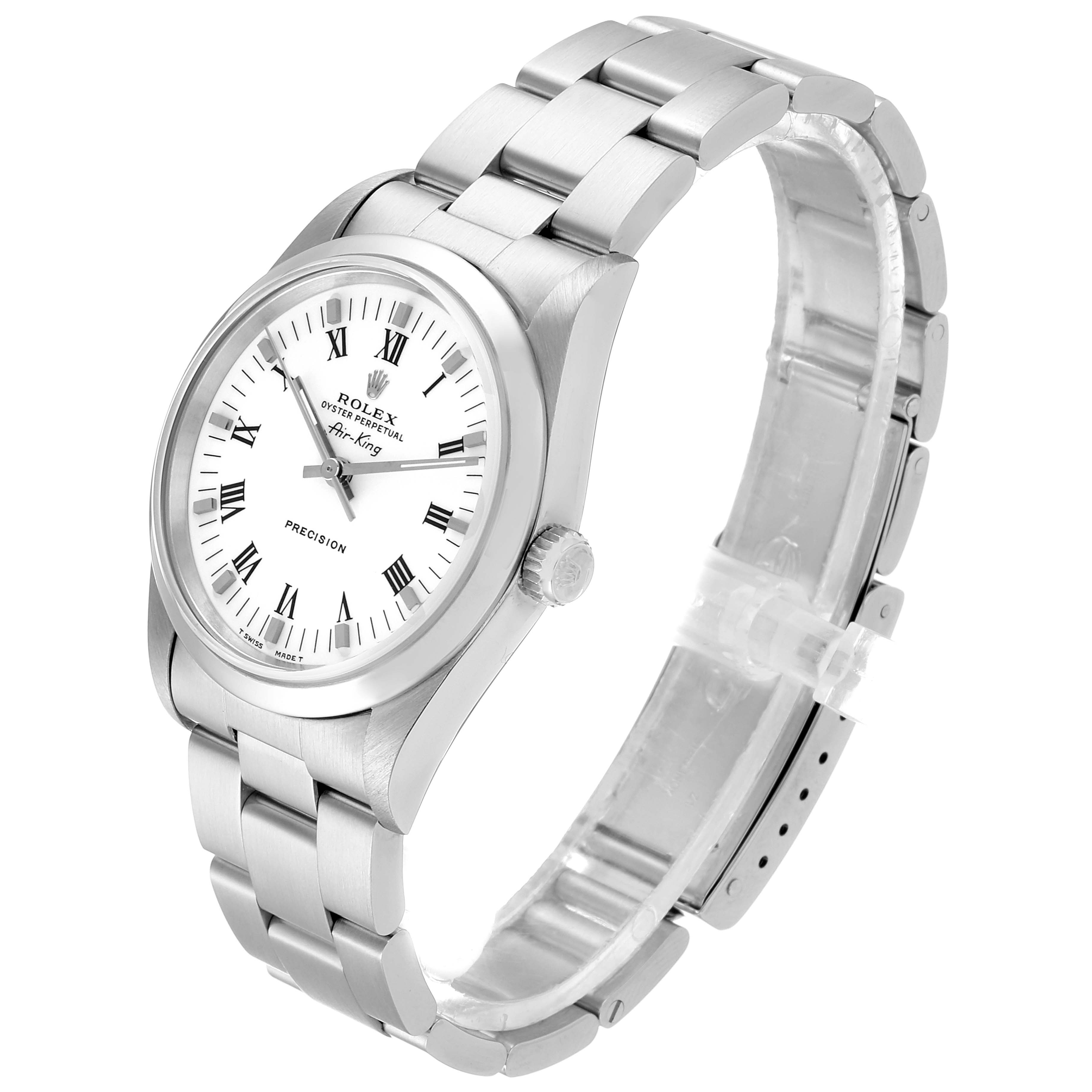 Rolex Air King 34mm White Dial Domed Bezel Mens Watch 14000 Box SwissWatchExpo