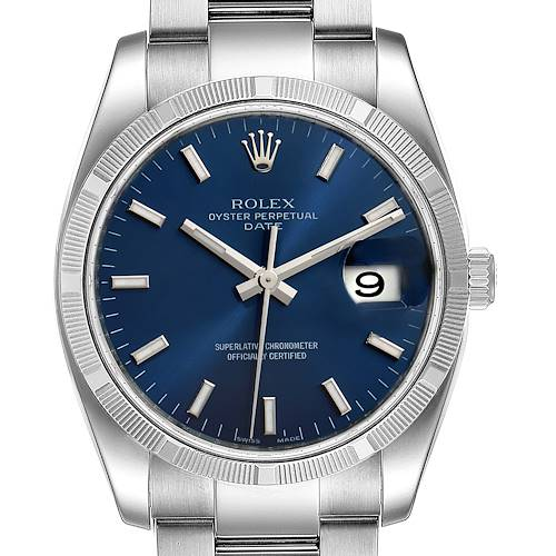 Photo of Rolex Date Steel Blue Dial Oyster Bracelet Automatic Mens Watch 115210