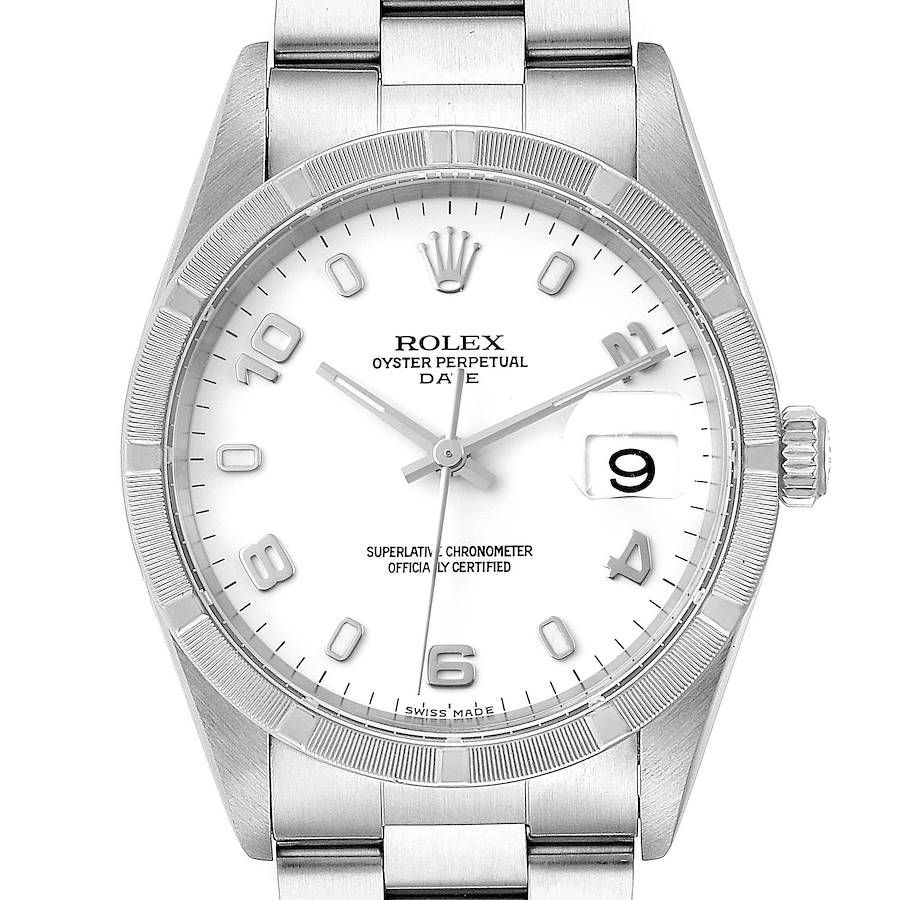 Rolex Date White Dial Engine Turned Bezel Steel Mens Watch 15210 Box SwissWatchExpo