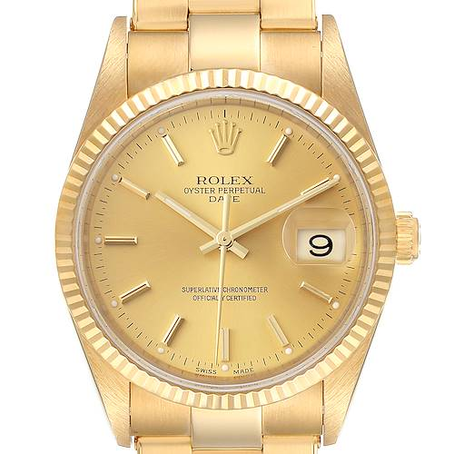 Photo of Rolex Date Yellow Gold Oyster Bracelet Mens Watch 15238 Box