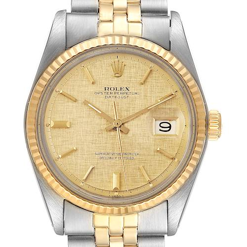 Photo of Rolex Datejust 36 Steel Yellow Gold Linen Dial Mens Watch 1603 Box